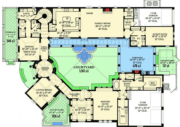 Plan 82002ka courtyard dream home plan the courtyard for Dream home blueprints