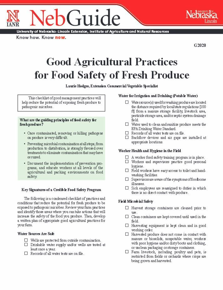 Good Agricultural Practices for Food Safety of Fresh Produce #NebExt