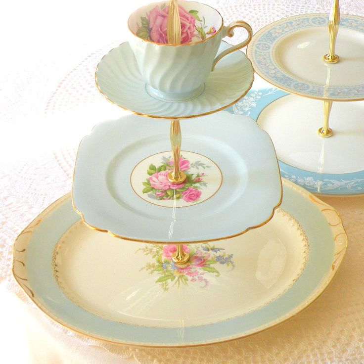 Alice Loves Sky Blue, Cupcake Stand & Cake Tray Platter in 3 Tiers for Wedding, Tea Party or Birthday via Etsy.