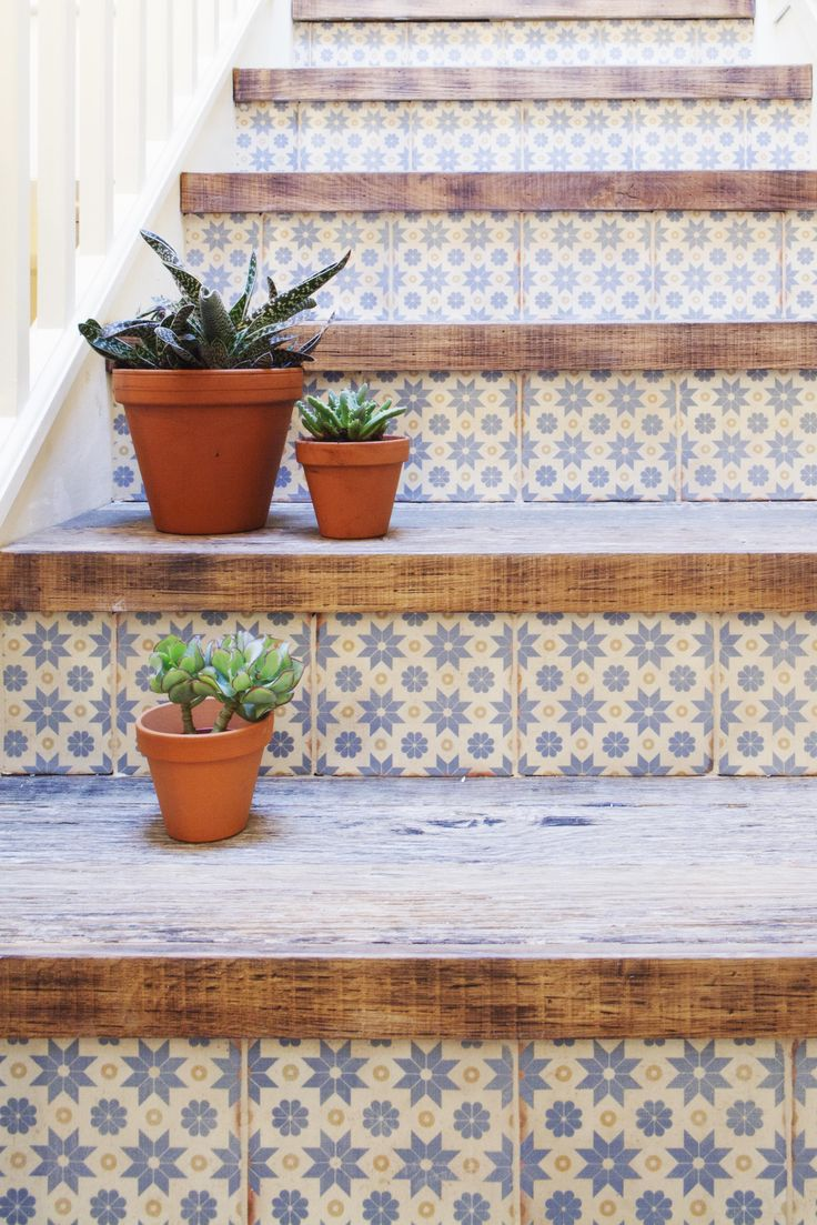 Stairway of dreams - tiled runners with wood toppers. These stairs would look seriously beautiful in a hallway.