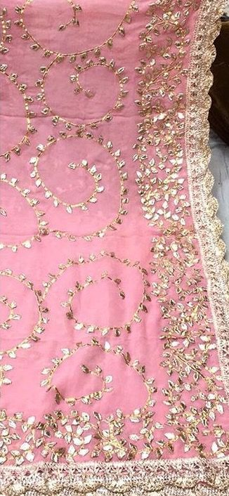bright pink dupatta with gold embroidery and scalloped edging