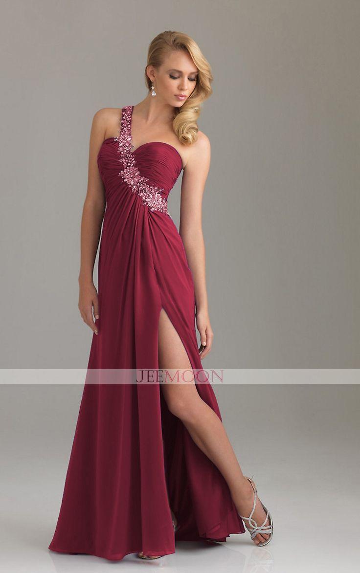 Floor-length A-line One Shoulder Burgundy Chiffon Formal/Evening Dress