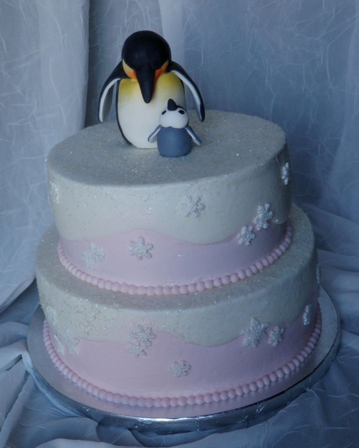 Penguin/Winter themed baby shower.   I love this cake so much.