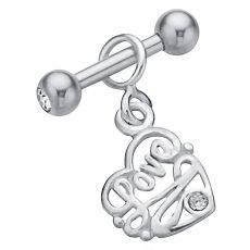FreshTrends Fancy Love Heart .925 Sterling Silver Dangle Cartilage Earring