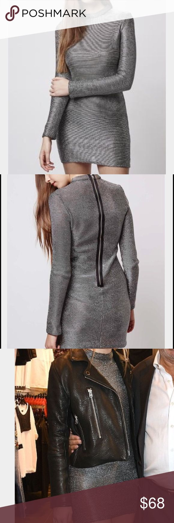 Topshop metallic mini dress Topshop women's silver high neck chain mail mini dress. Never worn, new with tags! Perfect for holiday parties, pair with over the knee boots! Topshop Dresses Mini
