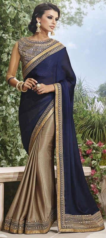 154792, Party Wear Sarees, Chiffon, Satin, Machine Embroidery, Border, Blue, Beige and Brown Color Family