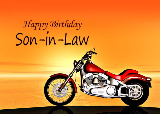 Son In Law Motorbike In The Sunset Birthday Card Business Card