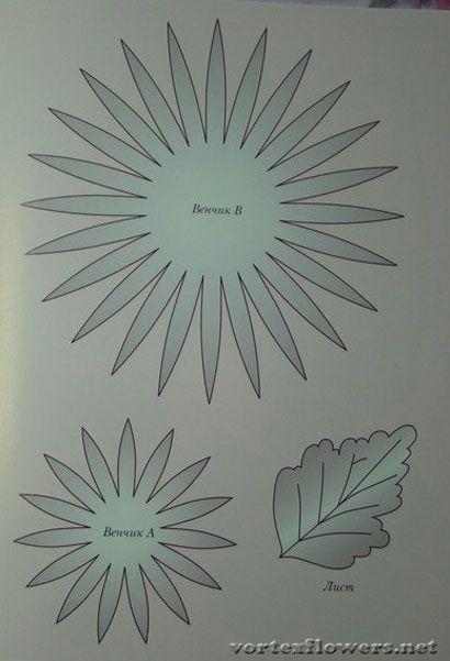 Выкройка (схема) астры из ткани.