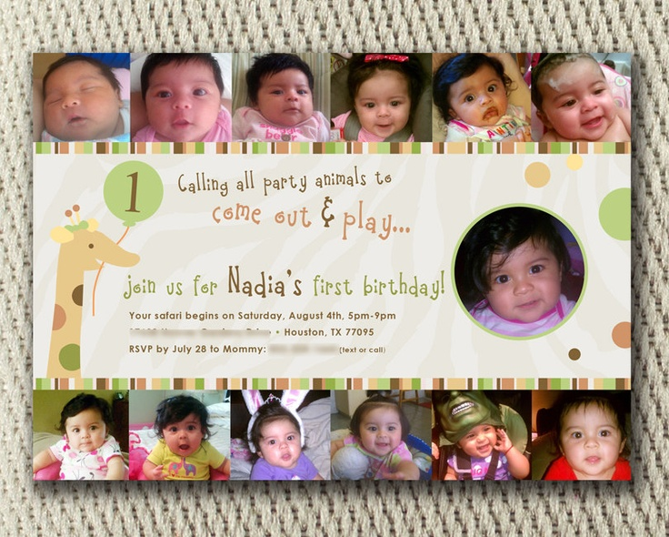 8 best First birthday ideas images on Pinterest Jungle party - invitation for 1st birthday party girl