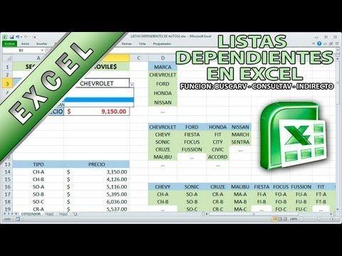 Tutorial de Excel - Listas dependientes - funciones indirecto buscarv consultav - YouTube