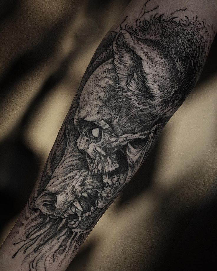 Fresh wtfdotworktattoo find fresh from the web skull wolf for Wolf head tattoos