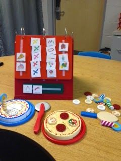 Having fun with Melissa and Doug pizza and birthday kit!  Freebie visuals at Speech Universe!
