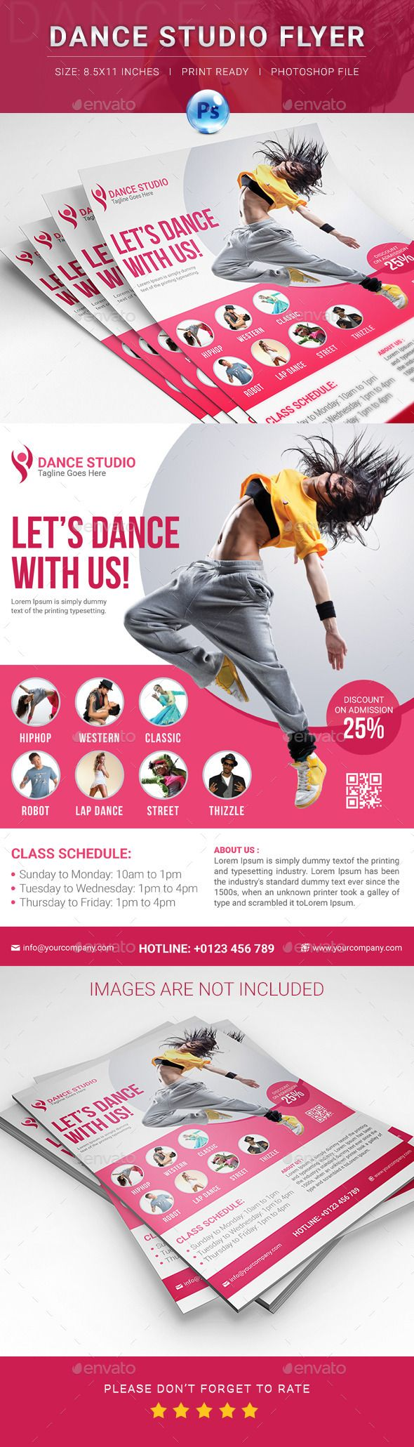 Dance Studio Flyer. Print-templates Flyers. For better visibility academy, advertising, artistic, brochure, business, corporate, dance, dance class, dance club, decorative, design, disco, event, event poster, fashion, flyer, institute, magazine, marketing, music, nightclub, party, poster, presentation, print, promotion flyer, school, and template.
