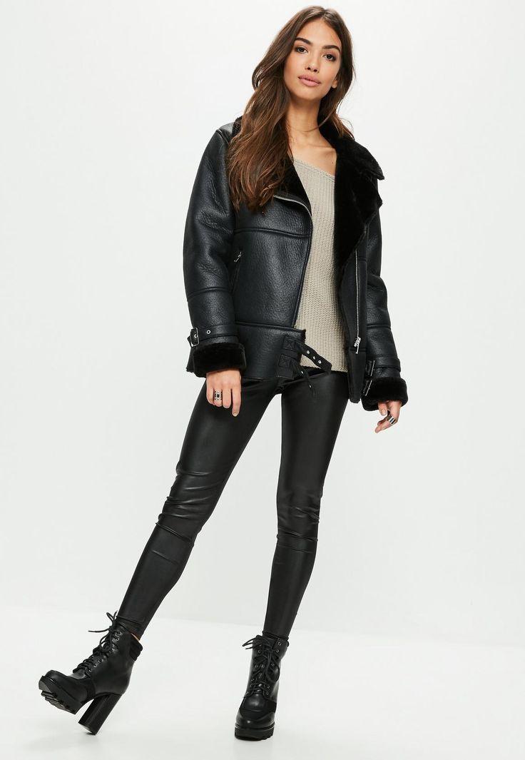 Missguided - Black Aviator Jacket