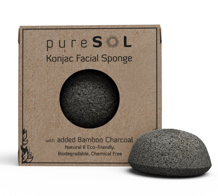 Konjac Sponge - Activated Charcoal - Facial Sponge, 100% Natural Sponge, Eco-Friendly - Gentle Exfoliating Sponge, Deep Cleansing, Improved Skin Texture - Konjac Facial Cleansing Sponge - Natural Beauty Products -Free of Chemicals, Parabens, Sulphates, Fragrances & Coloring. Good for Sensitive Skin, Hypoallergenic - Cruelty Free, Vegan, Biodegradable, Naturally Sustainable - 100% Money Back Guarantee