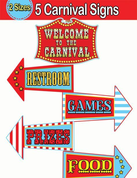 Carnival Directional Signs, Circus Welcome Sign - INSTANT DOWNLOAD