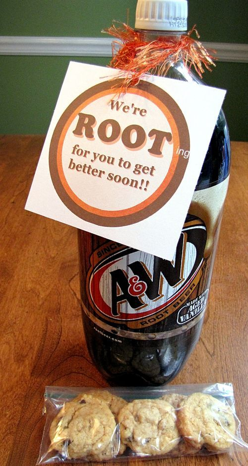 """Simple Get Well Gift with Free Printable Tag. """"We're Rooting For You to Get Better Soon!"""" on Root Beer"""