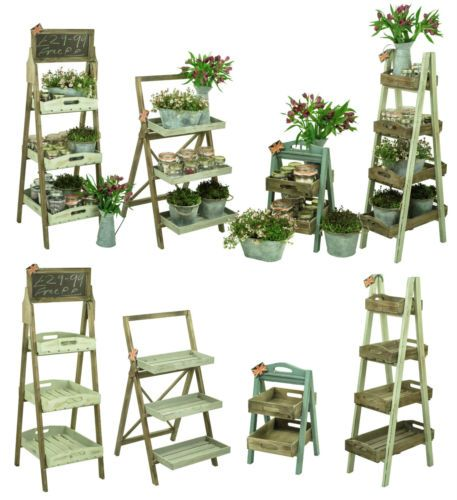 Shabby-Chic-Rustic-Wood-Florist-Shop-Farm-Market-Display-Plant-Pot-Shelf-Unit