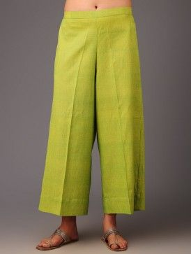 Lime Cotton Palazzo Pants