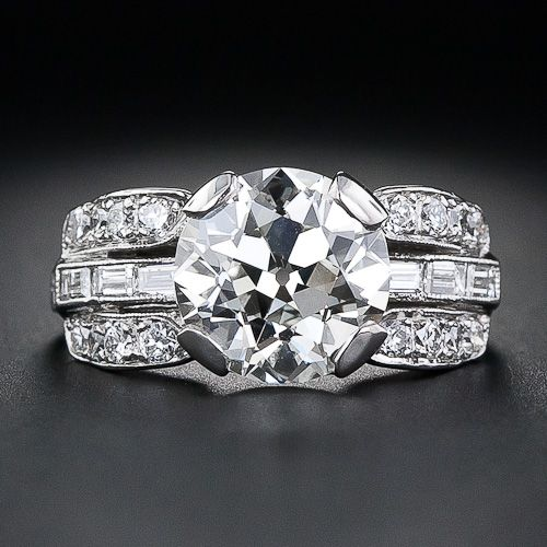 2.56 Carat Diamond Art Deco Engagement Ring - 10-1-4938 - Lang Antiques: Stuff, Engagement Ring, Woah Baby
