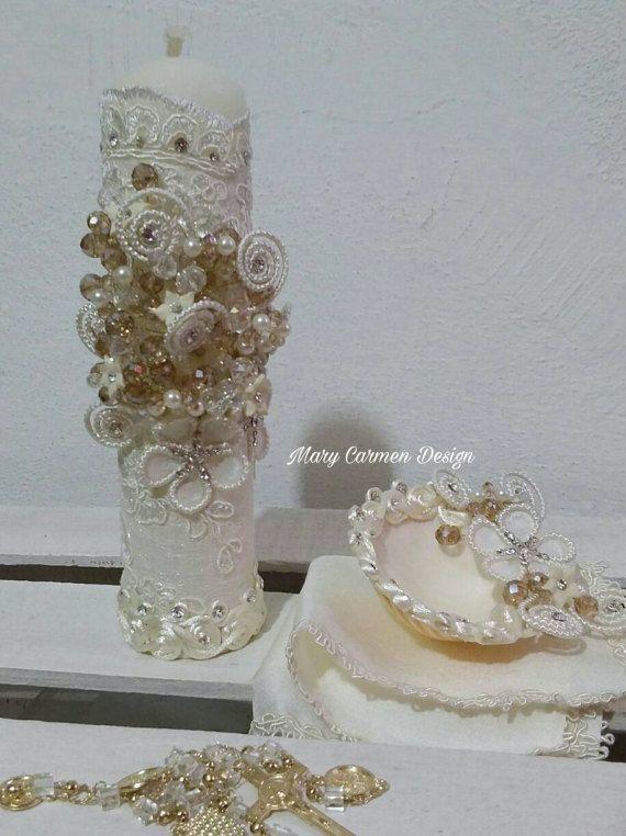 Bautizo set vela concha fe de bautismorosario beautiful