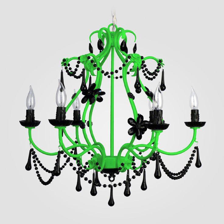 Sonja Neon Green Black Crystal Chandelier