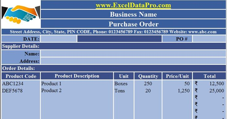 Download Purchase Order Excel Template
