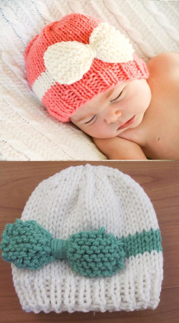 Knitted Baby Bow Hat Free Tutorial