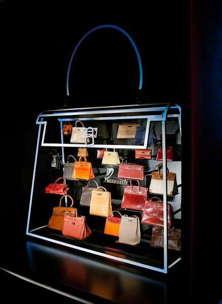 Hermes Leather Forever Exhibition handbag display at 6 Burlington Gardens London