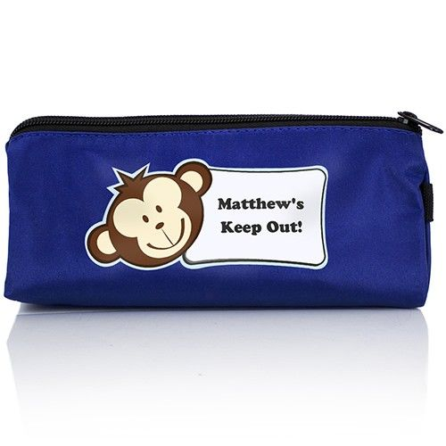Personalised Blue Monkey Boy Pencil Case  from Personalised Gifts Shop - ONLY £7.99