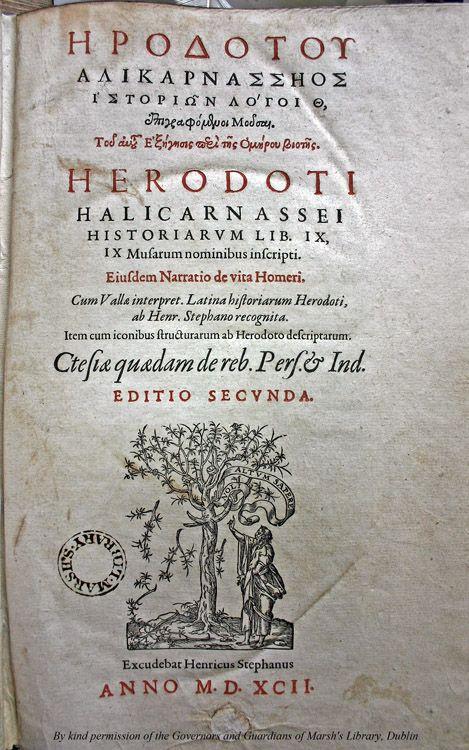 1592 Edition of Herodotus' Histories