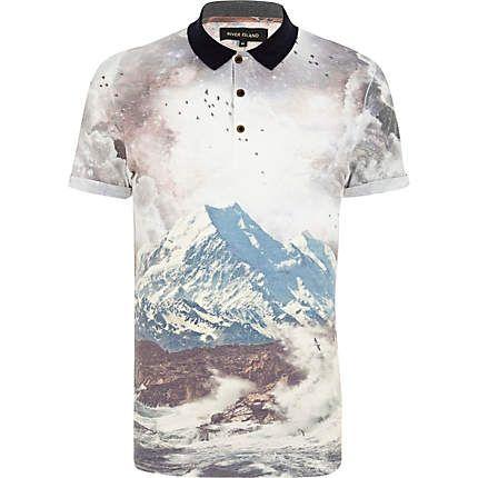 Ecru mountain scene print polo shirt - polo shirts - men (£22.00) - Svpply