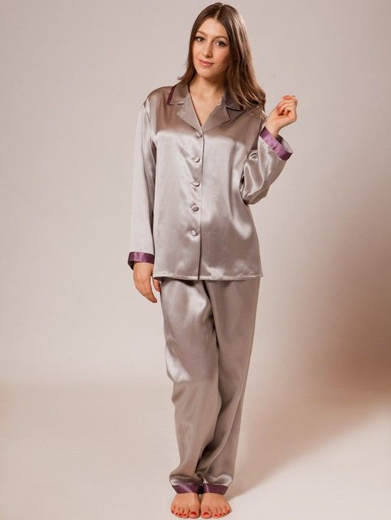 Silk Nightwear with Piping_Platinum/Raisin #women #silk #nightwear. - I have no particular brand preference, but silk PJs make my skin happy as long as there is no scratchy lace. :)