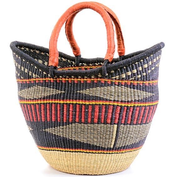 African basket, Yikene tote from Yikene village, Bolgatanga, Ghana. Weavers in the region use the abundant Veta vera grass to weave these incredibly hardy, useful baskets.