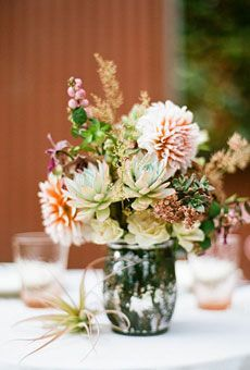 Tabletop idea for family reception back home after elopement...I like the idea of mixing succulents since it'll be in Texas #wedding #flowers