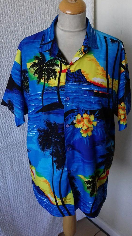 81280b0f 1940s 1950s style Rockabilly Hawaiian shirt Palm tree size M chest 42 by  rima