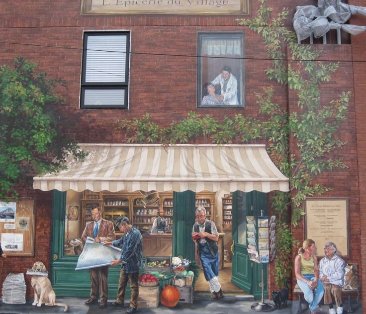 This mural is on the wall of the grocery store, in the Pointe Claire Village Montreal QC