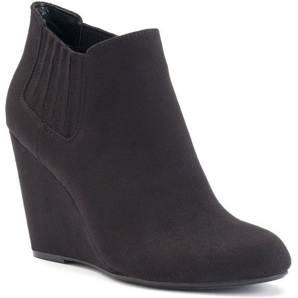 Apt. 9® Women's Wedge Ankle Boots ($50) ❤ liked on Polyvore featuring shoes, boots, ankle booties, black, faux suede booties, black booties, black wedge booties, black wedge boots and black ankle boots