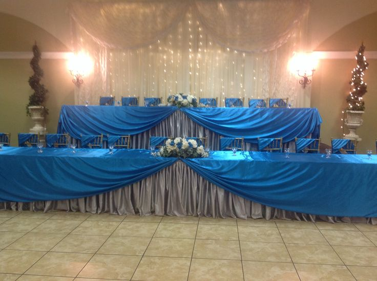Quinceanera Head Table in silver and turquoise Quinceaneras