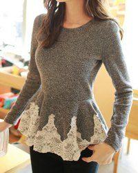 Long Sleeve Lace Embellished Solid Color Skirt Hem Women's T-shirtT-Shirts | RoseGal.com
