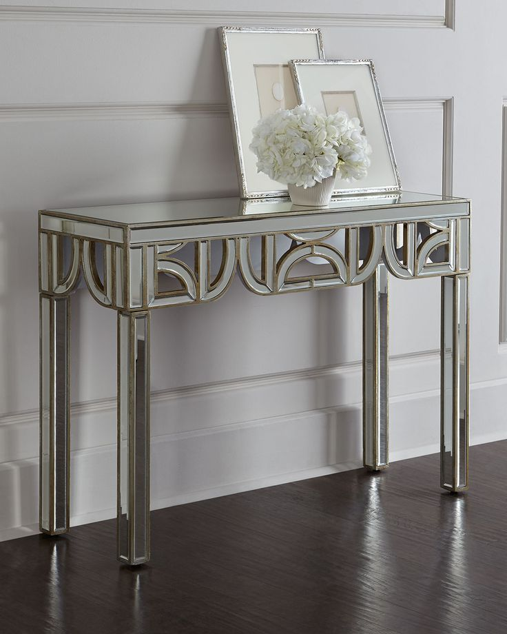 Felty Mirrored Console Mirror Gold Accent Tables