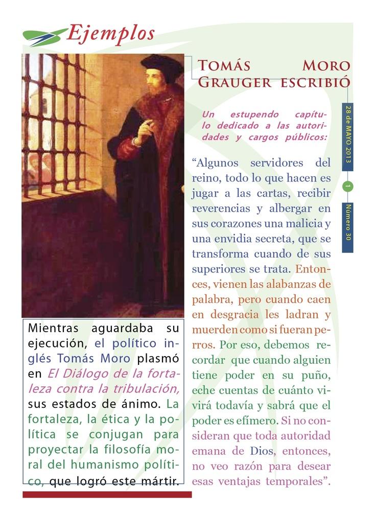 Cápsula doctrinal del Humanismo Político número 30, editada por el CDE del PAN en Morelos, con el tema: Tomás Moro.
