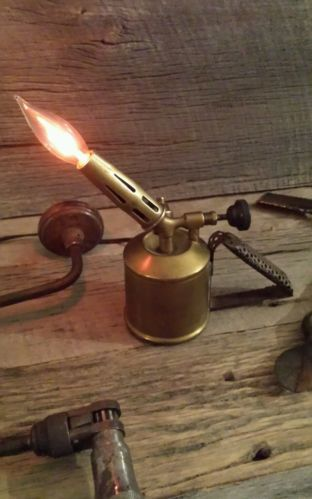 Vintage Industrial Machine Age SteamPunk Desk Table Shelf Blow Torch Light Lamp