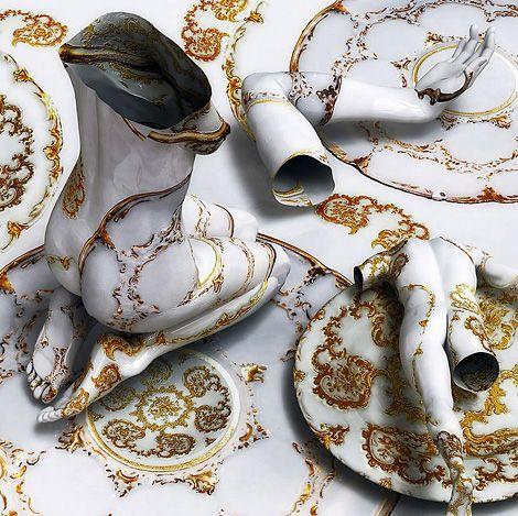 Kim Joon presents the human form as hollow tattooed bodies of thin porcelain