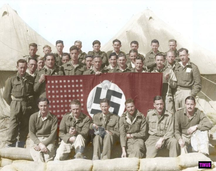 """2 Squadron pilots displaying their captured flag with the squadron victories marked on it, North Africa March 1943. The flag was brought to the squadron by Dave Theron when he returned on foot after being shot down on 11/11/1942. The OC, Maj. """"Wildie"""" Wildsmith, is holding the mascot monkey """"Jacko"""" who was with the sqdn from the East African campaign days of 1940/'41. Photograph from... See More — with Wildie Wildsmith, Hoefie Hauptfleisch, Rod Hojem, Vic Martin and Ben Keyter."""