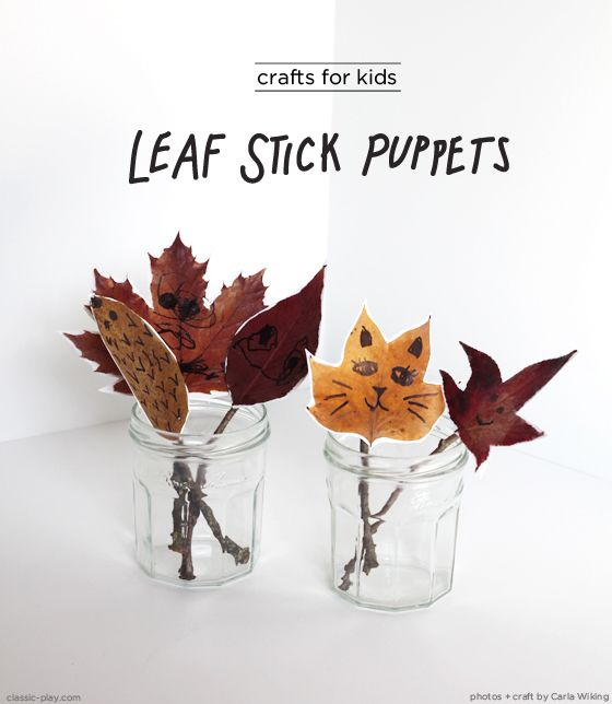 leaf stick puppets by Carla Wiking