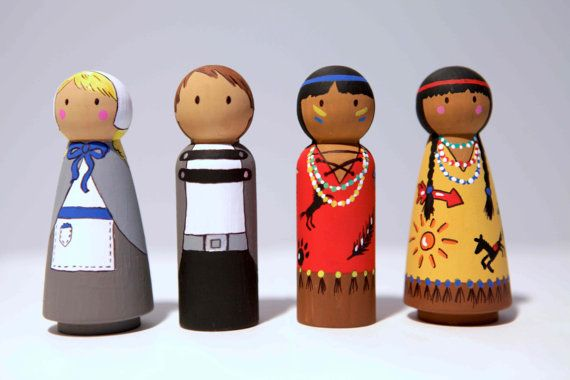 Thanksgiving peg dolls (use in block area or sensory bins) Adorable. Wish I could get the girl dolls in our local craft store