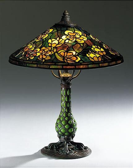 "Tiffany Studios, New York, Favrile Leaded Glass and Patinated Bronze ""Tulip Tree"" Lamp."