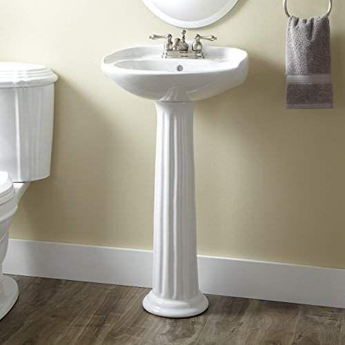 Naiture Porcelain Mini White Finish Pedestal Sink With Single Hole