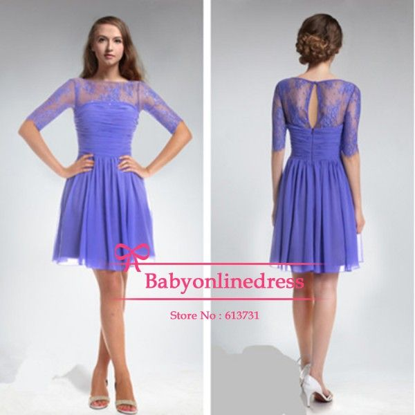Long sleeves purple lace bridesmaid dress knee length for Purple dresses for weddings knee length